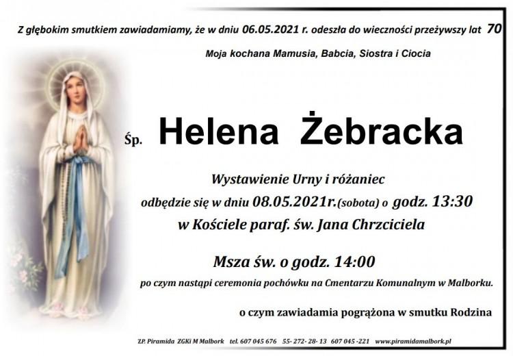 Zmarła Helena Żebracka. Żyła 70 lat.