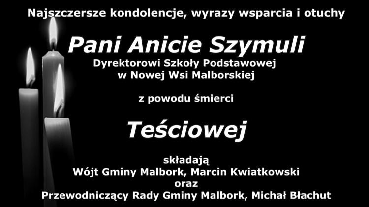 Kondolencje Wójta Gminy Malbork i Przewodniczącego Rady.