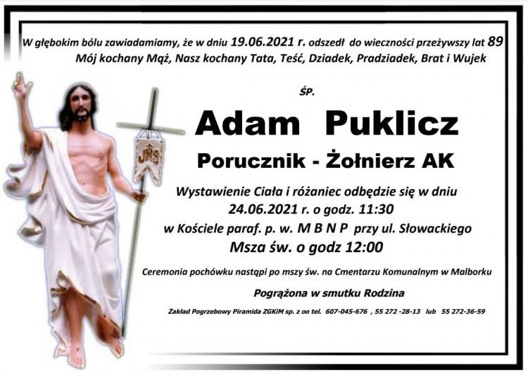 Zmarł Adam Puklicz. Żył 89 lat.