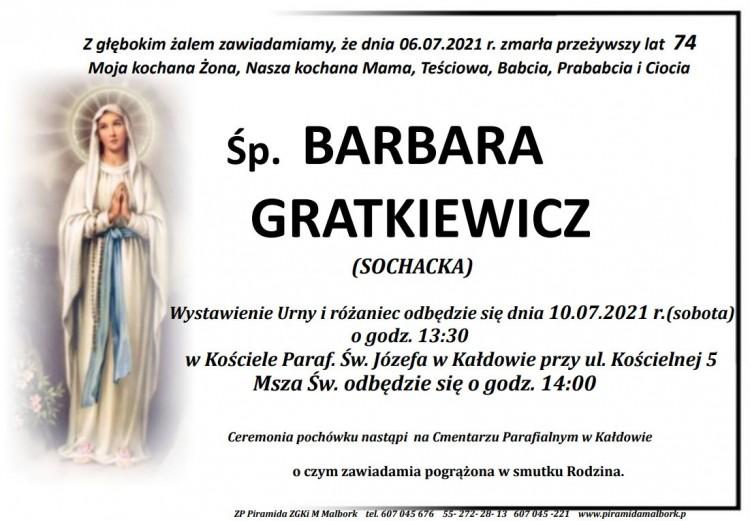 Zmarła Barbara Gratkiewicz. Żyła 74 lata.