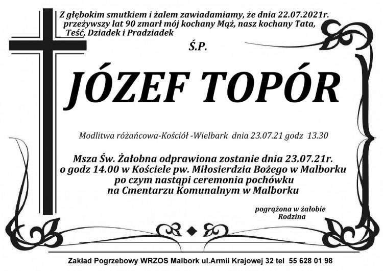 Zmarł Józef Topór. Żył 90 lat.