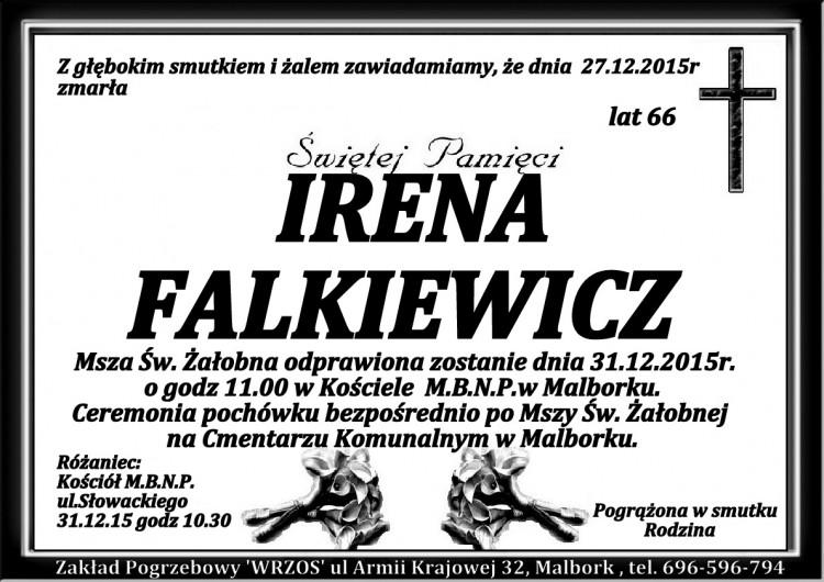 Zmarła Irena Falkiewicz Żyła 66 lat