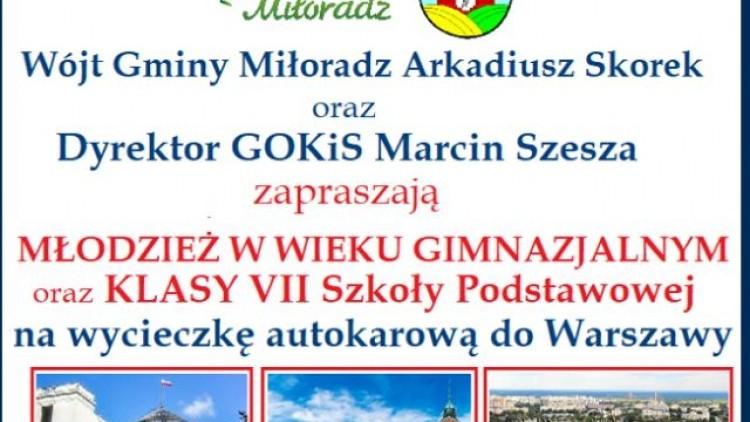 Zapraszamy na wyjazd autokarowy dla młodzieży z Gminy MIłoradz