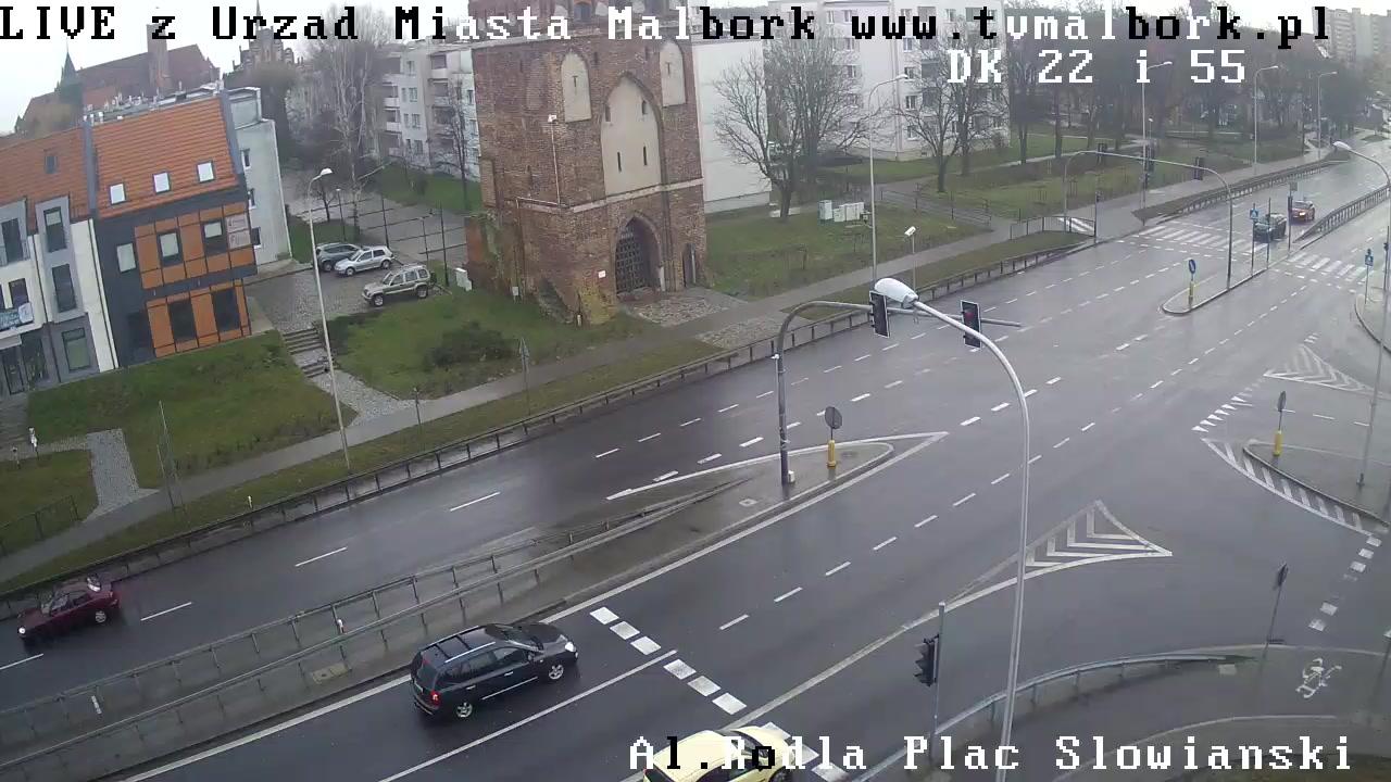 Urząd Miasta Malborka - Al. Rodła - Plac Słowiański - Droga Krajowa nr 22 i 55