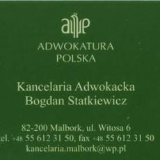 Kancelaria Adwokacka Bogdan Statkiewicz ul. Witosa 6, 82-200 Malbork Tel. 55 612 31 50