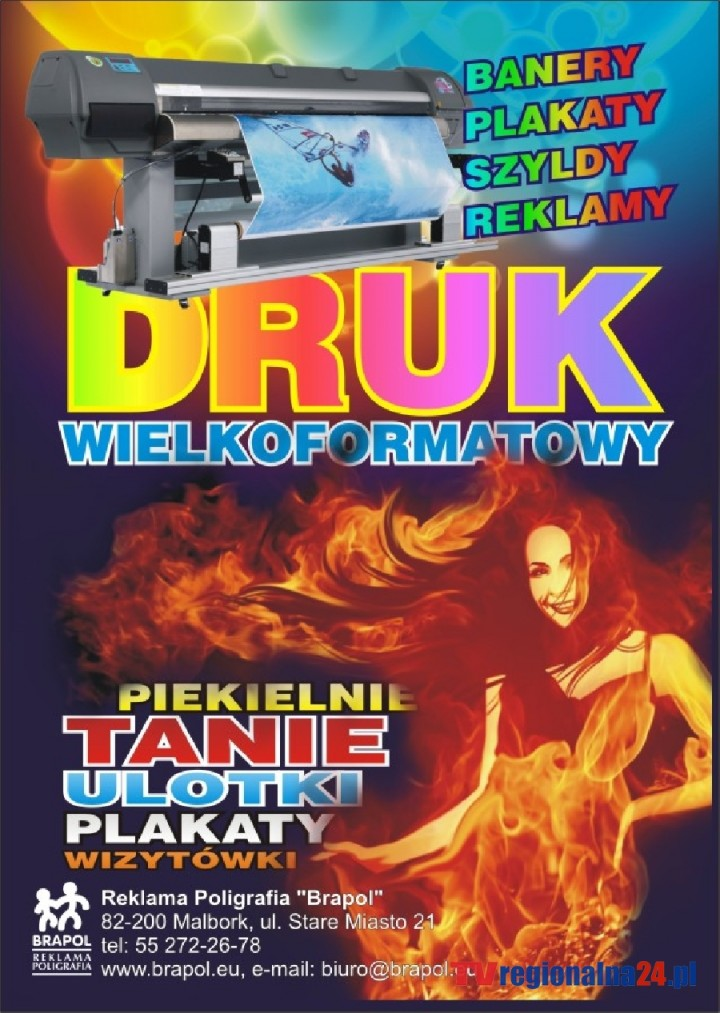"""Reklama Poligrafia """"Brapol"""" Janusz Politowski - tel: 55 272 26 78"""