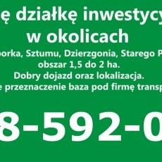 Kupię działkę inwestycyjną w okolicach Malborka, Sztumu, Dzierzgonia, Starego Pola, obszar 1,5 do 2 ha.