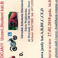 Kurs na prawo jazdy kat.A,B,BE,C,CE,D oraz szkolenia kierowców zawodowych