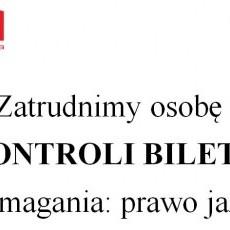 Zatrudnimy osobę do KONTROLI BILETÓW wymagania: prawo jazdy kat. B